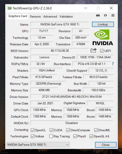 GPU-Z GeForce GTX 1650 Ti