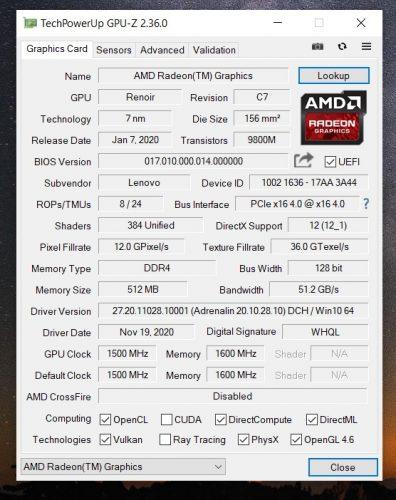 GPU-Z AMD Radeon™ Graphics