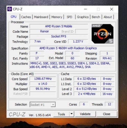 CPU-Z AMD Ryzen 5 4600H